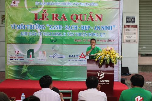 Ông Trần Tấn Hiền - Phó Giám đốc Công ty phát biểu tại buổi lễ ra  quân